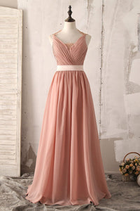 Ruched V-Neck Full-Length Chiffon Bridesmaid Dress With Lace Illusion Back