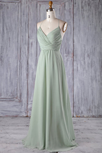 V-Neck Spaghetti Strap Long Solid Ruched Chiffon Bridesmaid Dress With Lace