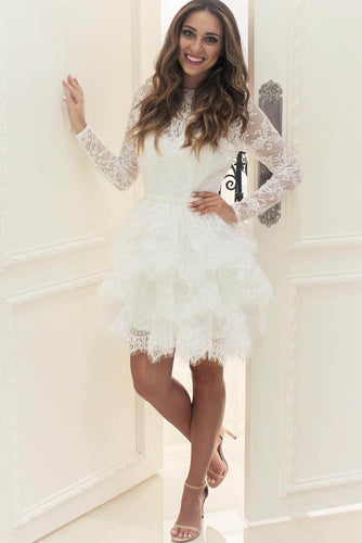 Elegant Lace Layers Illusion Bateau Neck Long Sleeves Short Solid Cocktail Dress