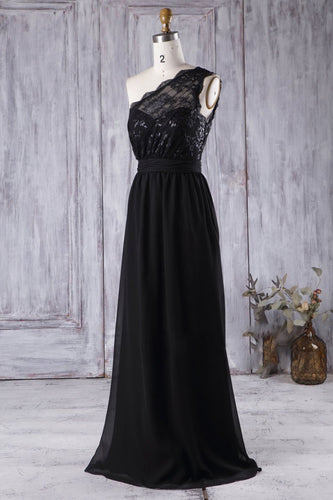 One-Shoulder Sleeveless Long Sheath Chiffon Black Bridesmaid Dress With Lace Illusion Bodice