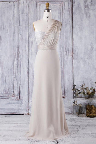 One-Shoulder Long Sheath Chiffon Bridesmaid Dress With Lace Bodice