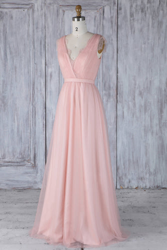 Lace Illusion V-Neck Long Solid Tulle Bridesmaid Dress With Lace