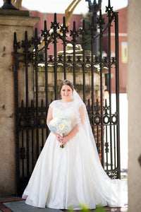 Lace Scalloped Edge Neck Cap Sleeves Plus Size Long Solid Satin Wedding Dress