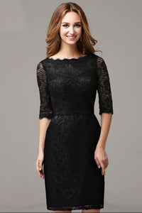 Elegant Lace Scalloped Edge Neck Half Sleeves Zip-Up Short Solid Sheath Cocktail Dress