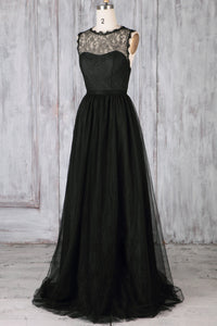 Black Tulle Sweep Train Illusion Bridesmaid Dress With Lace