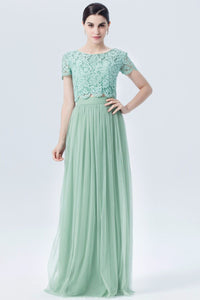 Jewel Neck Short Sleeve Two-Piece Long Tulle Bridesmaid Dress With Lace Bodice