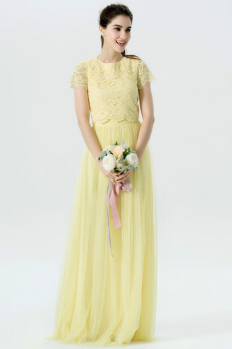Round Neck Short Sleeve Two-Piece Long Tulle Bridesmaid Dress With Lace Bodice
