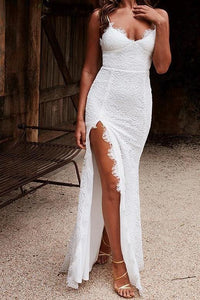 Elegant Lace Spaghetti Straps Sleeveless Backless Floor-Length Solid Slit Prom Dress