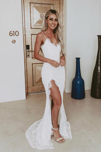 Lace Spaghetti Straps Sleeveless Long Slit Fit-And-Flare Wedding Dress with Sweep Train