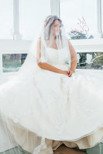 Lace Strapless Sleeveless Plus Size Long Solid Tulle Wedding Dress with Court Train