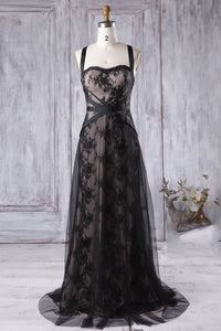 Black Strap Sweep Train Tulle Bridesmaid Dress with Lace Applique