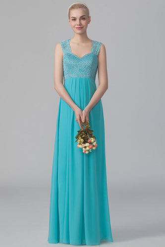 Sweetheart Strap Empire Waist Floor-Length Chiffon Bridesmaid Dress With Lace Bodice