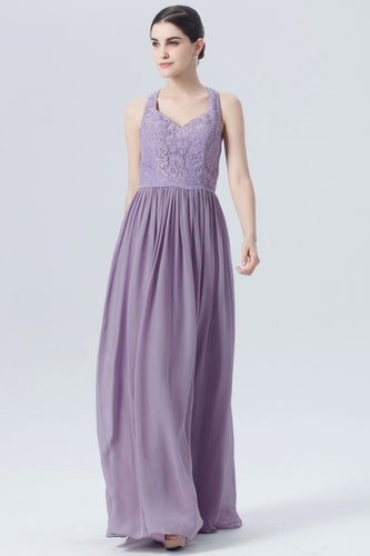 Strap Floor-Length Pleated Chiffon Bridesmaid Dress With Lace Bodice