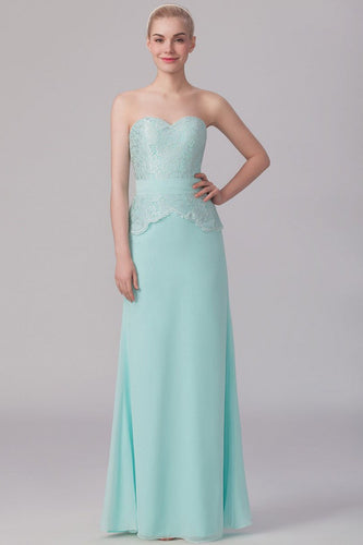 Lace Sweetheart Sleeveless Zipper-Up Floor-Length Solid Sheath Chiffon Bridesmaid Dress