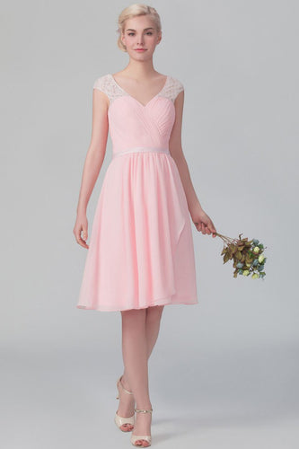 Pink Chiffon V-Neck Knee-Length Bridesmaid Dress With Ruching & Lace
