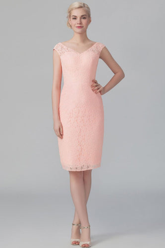 Lace V-Neck Cap Sleeve Knee-Length Solid Sheath Bridesmaid Dress