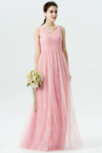 Ruched V-Neck Full-Length Pink Tulle Bridesmaid Dress With Lace