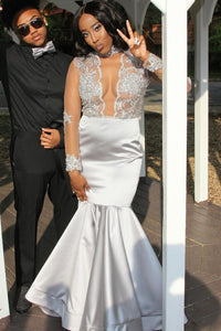 Long Sleeve High Neck Floor-Length Satin Illusion Prom Dress With Applique