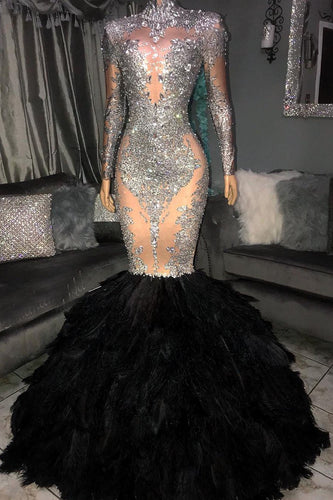 Long Sleeve High Neck Floor-Length Sequin Mermaid Prom Dress With Feather Skirt