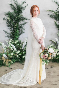 Long Sleeve High Neck Sweep Train Lace Mermaid Bridal Dress