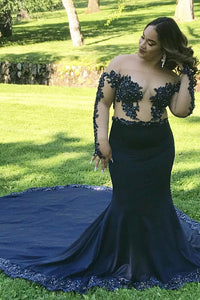 Long Sleeve Off-The-Shoulder Plus Size Court Train Illusion Prom Dress With Applique