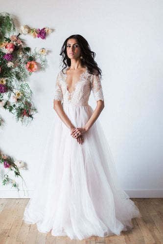 1/2 Sleeve Low V-Neck Tulle Sweep Train Wedding Dress With Illusion Lace Bodice