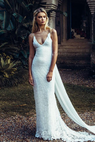 Mermaid Deep V-Neck Spaghetti Strap Backless Sexy Lace Wedding Dress