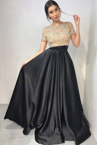 Satin Short Sleeve Round Neck Long Prom Dress With Beaded Bodice