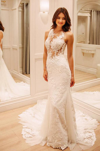 Mermaid Lace Illusion Bridal Dress With Court Train