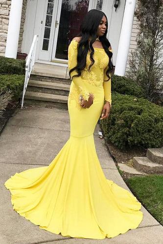 Mermaid Off-The-Shoulder Long Sleeve Illusion Prom Dress With Lace Applique