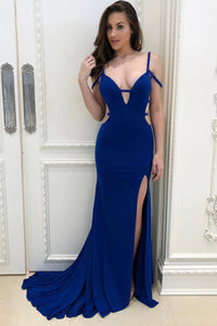 Mermaid Open Back Strap Side Cut out Sexy Prom Dress With Thigh Split