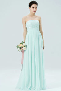 Mint Green Strapless Long Pleated Chiffon Bridesmaid Dress With Lace Bodice