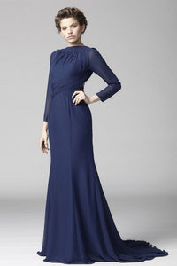 Sexy Bateau Neck Long Sleeves Backless Long Solid Fit-And-Flare Chiffon Evening Dress