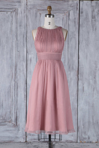 Jewel Neck Empire Waist Knee-Length Chiffon Bridesmaid Dress With Ruching
