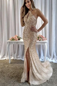Beading Rhinestone Sequin Jewel Neck Sleeveless Long Slit Mermaid Evening Dress
