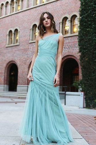 Illusion One Shoulder Sleeveless Floor-Length Solid Sheath Tulle Evening Dress
