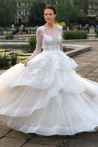 Lace Illusion Bateau Neck Long Sleeves Open Back Floor-Length Organza Wedding Dress