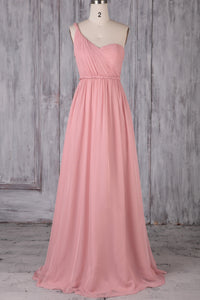 One-Shoulder Sweep Train Ruched Chiffon Bridesmaid Dress
