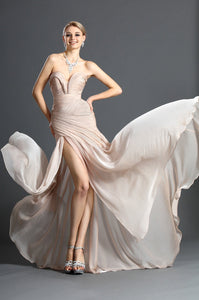 Sweetheart Sleeveless Long Solid Ruched Slit Chiffon Evening Dress with Sweep Train