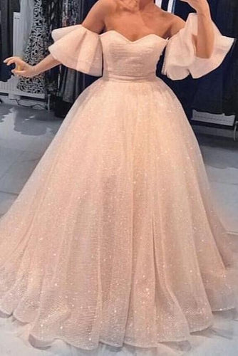 Elegant Off Shoulder Short Trumpet Sleeves Floor-Length Ball Gown Prom Dress