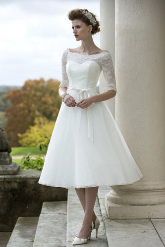 Off-The-Shoulder 1/2 Sleeve Tea-Length Bridal Dress With Lace Illusion Bodice