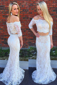 Off-The-Shoulder 1/2 Sleeve Two-Piece Lace Mermaid Prom Dress With Beads