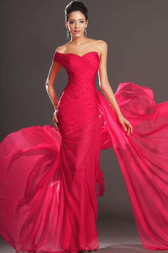 One Shoulder Long Solid Ruched Red Fit and Flare Chiffon Evening Dress with Sweep Train