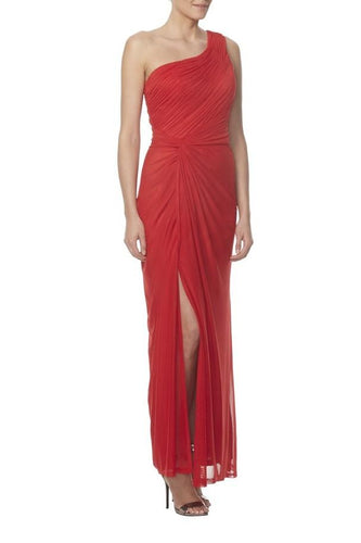 Chiffon One-Shoulder Ankle-Length Solid Ruched Slit Sheath Bridesmaid Dress
