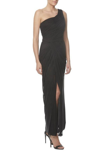 One-Shoulder Ankle-Length Ruched Sheath Black Chiffon Bridesmaid Dress With Slit