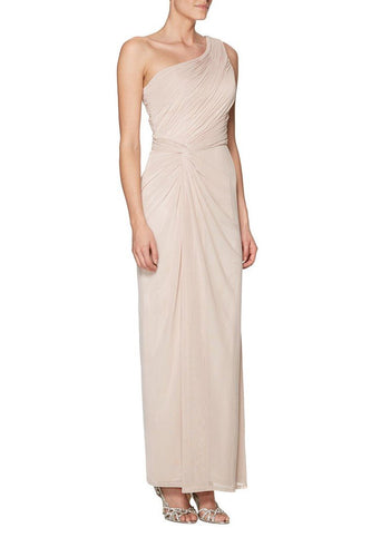 Graceful One-Shoulder Ankle-Length Solid Ruched Sheath Bridesmaid Dress