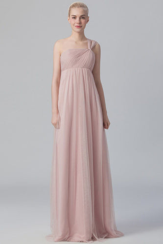 One-Shoulder Sleeveless Empire Waist Long Ruched Tulle Bridesmaid Dress