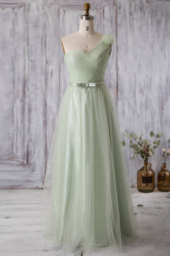 One-Shoulder Sleeveless Full-Length Ruched Tulle Bridesmaid Dress with Belt