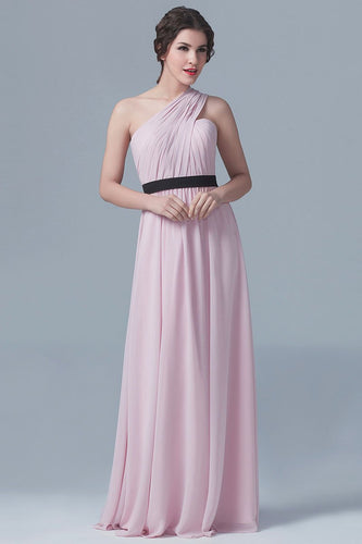 One-Shoulder Sleeveless Long Ruched Chiffon Bridesmaid Dress with Belt