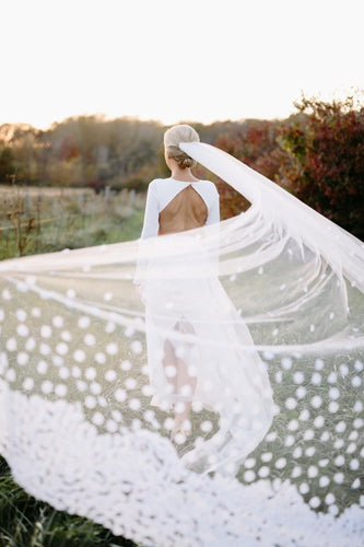 One Tier Cathedral Bridal Veil With Petals Scattered